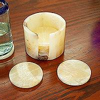 Onyx coasters, 'Elegant Earth' (set of 6) - Handmade Onyx Coasters from Mexico (Set of 6)