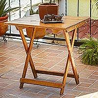 Wood folding table, 'Convenient Meal' - Handmade Pinewood Folding Table from Mexico