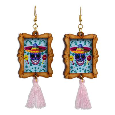 Handcrafted Day of the Dead Skull Wood Frame Dangle Earrings