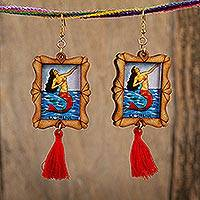Wood dangle earrings, 'Siren Call' - Handcrafted Mermaid Wood Frame Dangle Earrings with Tassels