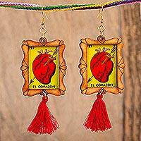 Wood dangle earrings, 'Pierced Heart' - Handcrafted Pierced Heart Wood Frame Dangle Earrings
