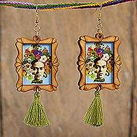 Wood dangle earrings, 'Frida Adorned' - Handcrafted Frida Kahlo and Flowers Wood Dangle Earrings