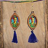 Wood dangle earrings, 'Frida with Roses' - Handcrafted Frida Kahlo Wood Dangle Earrings Blue Tassels