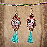 Wood dangle earrings, 'Brilliant Frida' - Handcrafted Frida Kahlo Wood Dangle Earrings Aqua Tassels