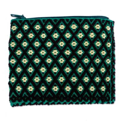 Geometric Pattern Cotton Coin Purse from Mexico