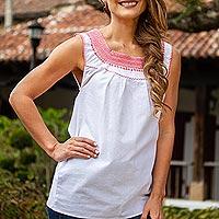 Cotton blouse, 'Flame Delight'