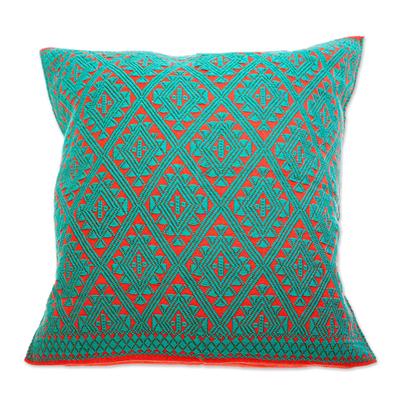 Cotton cushion cover, 'Chiapas' - Hand-woven Cotton Brocade Cushion Cover From Mexico