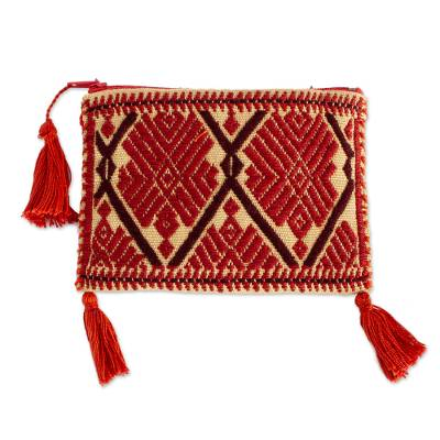 Geometric Cotton Coin Purse in Russet from Mexico