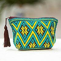 Cotton coin purse, 'Hope of Summer' - Teal and Daffodil Geometric Cotton Coin Purse from Mexico