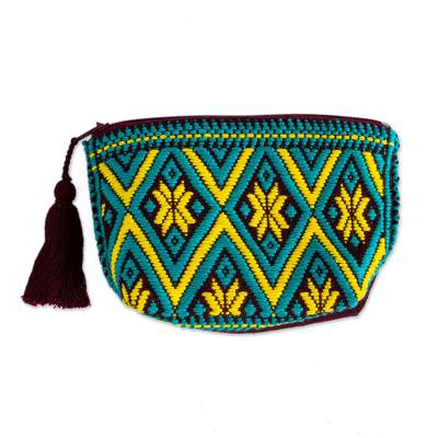 Teal and Daffodil Geometric Cotton Coin Purse from Mexico