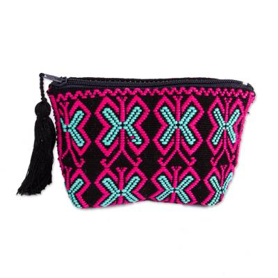 Butterfly Pattern Geometric Cotton Coin Purse from Mexico
