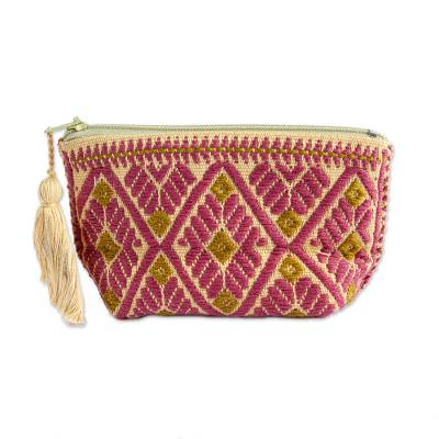 Burgundy and Ochre Geometric Cotton Coin Purse from Mexico