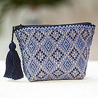 Cotton coin purse, 'Sky Melody' - Blue and Peach Geometric Cotton Coin Purse from Mexico