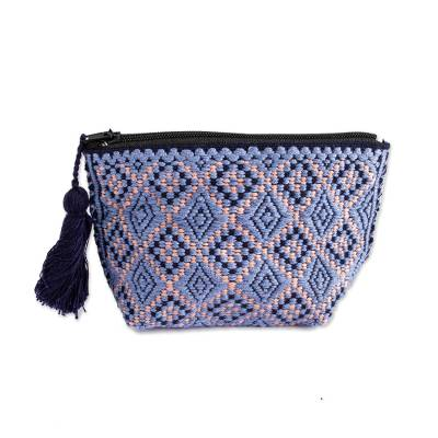 Blue and Peach Geometric Cotton Coin Purse from Mexico