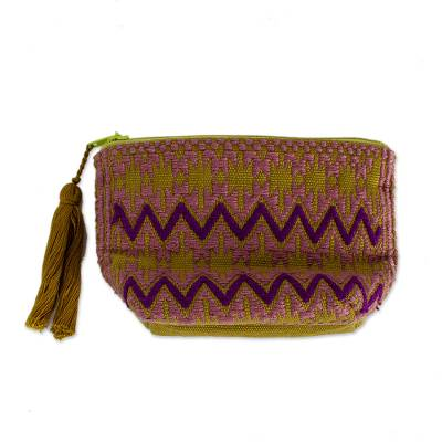 Olive and Plum Zigzag Cotton Coin Purse from Mexico