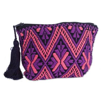 Rose and Grape Geometric Cotton Coin Purse from Mexico