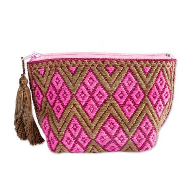 Fuchsia and Taupe Geometric Cotton Coin Purse from Mexico