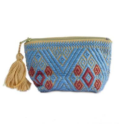 Periwinkle and Honey Cotton Coin Purse from Mexico