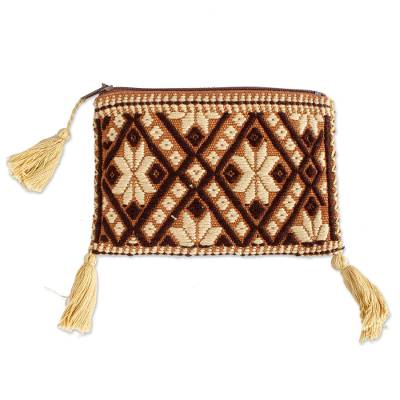 Geometric Pattern Cotton Coin Purse Handwoven in Mexico