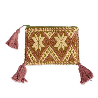 Redwood and Beige Cotton Coin Purse from Mexico