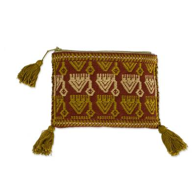 Cotton Coin Purse with Geometric Forms from Mexico