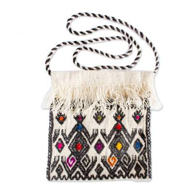 Geometric Pattern Wool Sling in Graphite from Mexico