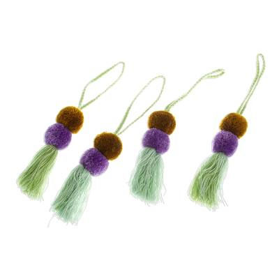 Cotton ornaments, 'Spirited Tassels' (set of 4) - Colorful Cotton Ornaments from Mexico (Set of 4)