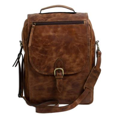 Handmade Leather Backpack in Saddle Brown from Mexico