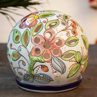Ceramic tealight lantern, 'Floral Sphere' - Floral Talavera-Style Ceramic Tealight Lantern from Mexico
