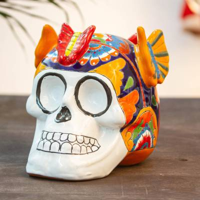 Ceramic sculpture, 'Butterfly Friend' - Talavera-Style Ceramic Skull Sculpture from Mexico
