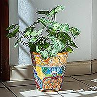 Ceramic flower pot, 'Talavera Delight' - Floral Talavera-Style Ceramic Flower Pot from Mexico
