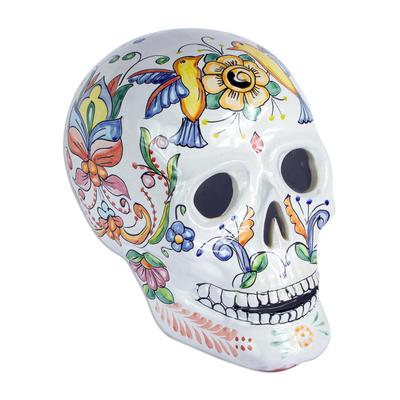 Talavera-Style Ceramic Skull Tealight Holder from Mexico