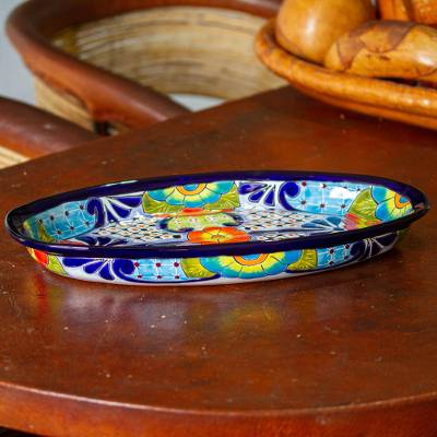 Ceramic oval platter, 'Raining Flowers' - Talavera-Style Oval Ceramic Serving Platter from Mexico