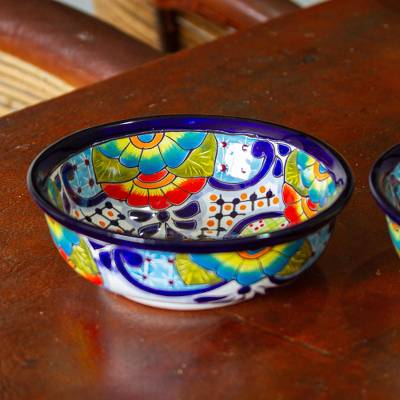 Ceramic snack bowls, 'Raining Flowers' (pair) - Mexican Talavera Style Ceramic Snack or Serving Bowls (Pair)
