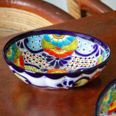 Ceramic serving bowl, 'Raining Flowers' - Mexican Talavera Style Ceramic Serving Bowl