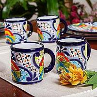 Ceramic mugs, 'Raining Flowers' (set of 4) - Four Mexican Talavera Style Floral Ceramic Mugs