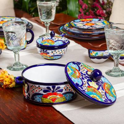 Ceramic tortilla container and lid, 'Raining Flowers' - Mexican Talavera Style Ceramic Tortilla Container and Lid