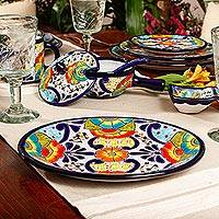 Ceramic oval serving platter, 'Raining Flowers' - Mexican Talavera Ceramic Oval Serving Plate