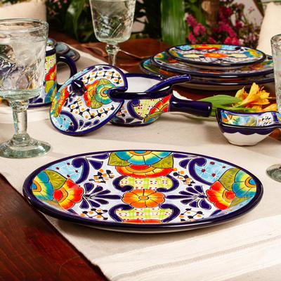 Mexican Talavera Ceramic Oval Serving Plate Raining Flowers Novica