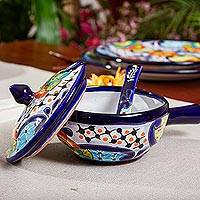 Ceramic salsa dish, 'Raining Flowers' (3 pieces) - Mexican Talavera Style Covered Salsa Dish with Spoon