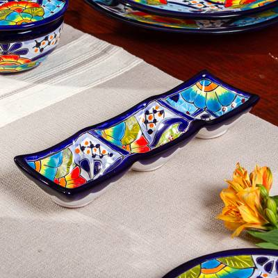Ceramic triple condiment dish, 'Raining Flowers' - Mexican Talavera Style Ceramic Triple Condiment Dish