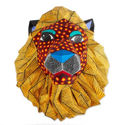 Hand-Painted Eco-Friendly Lion Wall Sculpture from Mexico