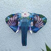 Hand-painted wall sculpture, 'Florid Elephant' - Hand-Painted Eco-Friendly Elephant Wall Sculpture