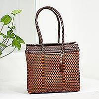 Handwoven shoulder bag, 'Autumn Occasion' - Handwoven Espresso and Scarlet Tote from Mexico