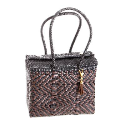Black and Espresso Brown Handwoven Tote from Mexico