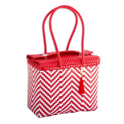Chili Red and White Zigzag Pattern Handwoven Tote Mexico