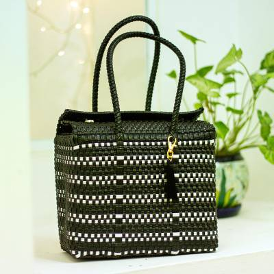 Handwoven tote, 'Perfect Stripes' - Handwoven Black and White Striped Tote from Mexico