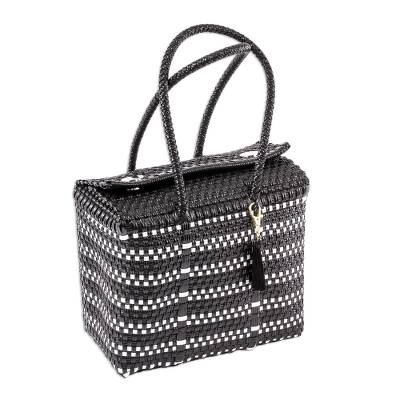 Handwoven Black and White Striped Tote from Mexico