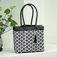 Plastic tote, 'Perfect Diamonds' - Handwoven Diamond Pattern Plastic Tote from Mexico