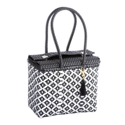 Handwoven Diamond Pattern Shoulder Tote from Mexico